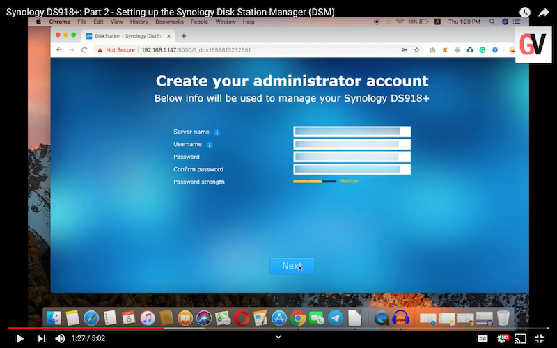 Watch: Setting up the Synology Disk Station Manager (DSM